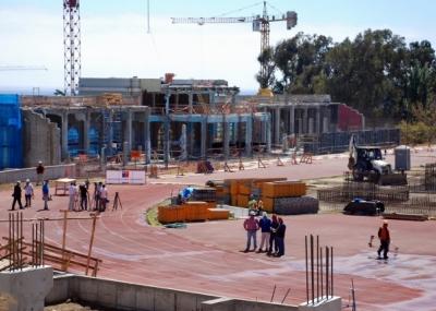 Avanzan obras en estadio el as figueroa y polideportivo de for Construccion piscina temperada